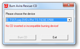 Select the device and click on 'Burn CD'