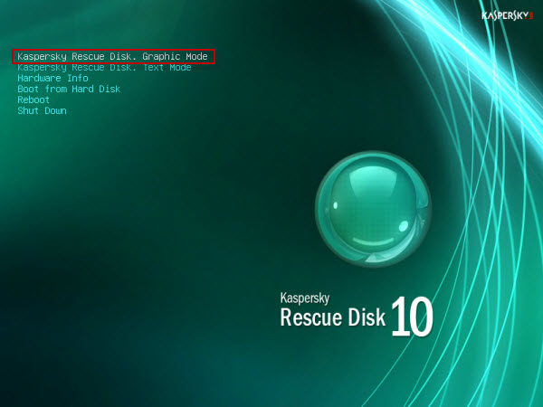 Select 'Kaspesky Rescue Disk - Graphics Mode'