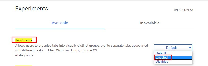 Enable the 'Tab Groups' option