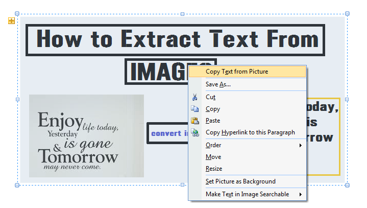"Select ""Copy Text from Picture"""