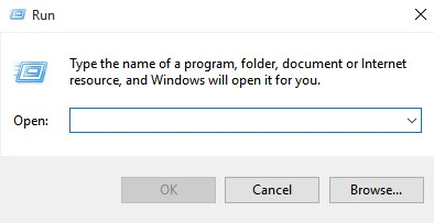 Open Run Dialog Box