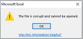 The file is corrupt and cannot be opened