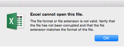 Excel cannot open this file.